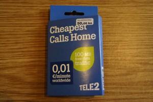 TELE2のSIMカードのパッケージ